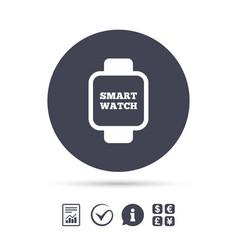 smart watch sign icon wrist digital watch vector image