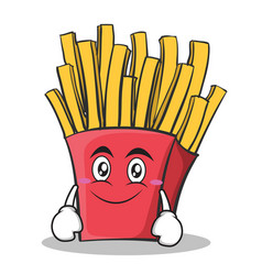 smile face french fries cartoon character vector image