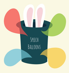 Speech bubble magic hat and bunny ears vector
