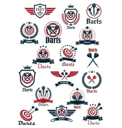 Sport darts game symbols and icons vector image