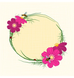 Springtime Cosmos Flower with Bees Background vector