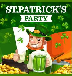 st patrick shamrock irish green beer leprechaun vector image