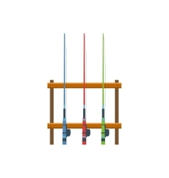 Three Fishing Rods On Stand vector