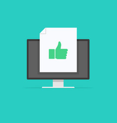 thumb up social media concept in monitor vector image
