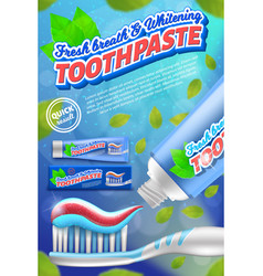 Toothpaste and toothbrush design concept vector