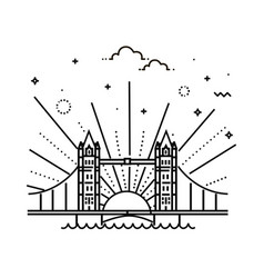 Tower bridge icon outline vector