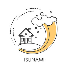 Tsunami isolated icon wave covering house flood vector