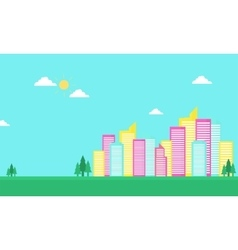 Urban city color flat of silhouette vector image