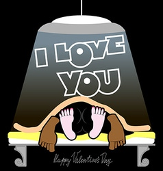 Valentines Day Card Man and woman On the bed vector image