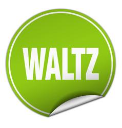 Waltz round green sticker isolated on white vector
