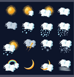 weather icons in cartoon style on dark blue vector image