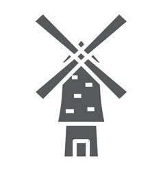 Windmill glyph icon energy and wind mill sign vector