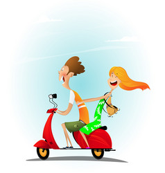 young cheerful cartoon couple riding a scooter vector image