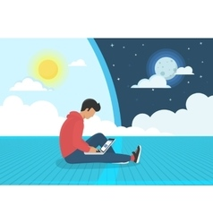 Young man sitting on the floor working with laptop vector image