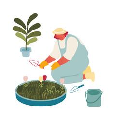 Young woman gardener or florist working in vector