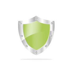 3d green security shield on a white background vector image