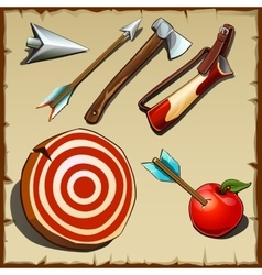 Archery set and tools for the hunter vector image vector image
