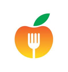 Circle apple fork restaurant logo vector