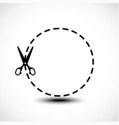 dotted lines with scissor icon vector image vector image