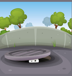 eyes spying from manhole vector image