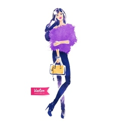 Fashion model with bag vector image
