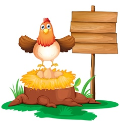 A chicken with a nest above a trunk near a signage vector image