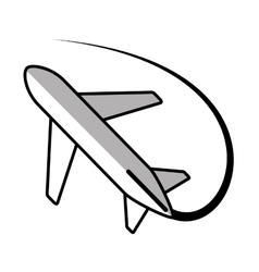 airplane travel business vacation line shadow vector image vector image