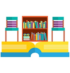 Colorful Chairs And Bookcase On Huge Book vector image vector image