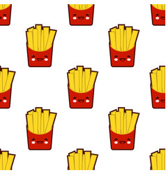 french fries seamless pattern with cute fast food vector image vector image