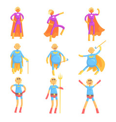 funny elderly men in superman costume old vector image