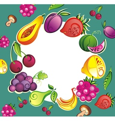 Mixed fruits collection vector image vector image
