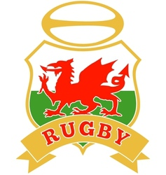 rugby ball wales red welsh dragon shield vector image vector image