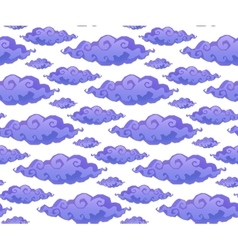 Violet curly cartoon style clouds seamless vector image vector image