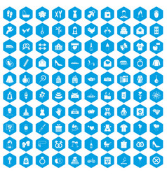 100 woman happy icons set blue vector