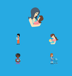 flat icon mam set of mam baby child and other vector image