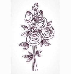 flower bouquet stylized roses hand drawing vector image vector image