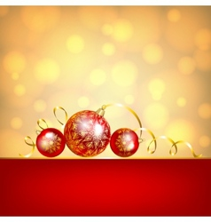 red baubles on golden background vector image