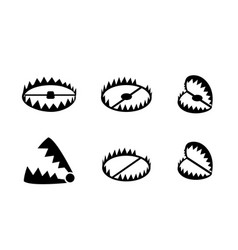 set of bear trap icons and symbol in design vector image vector image