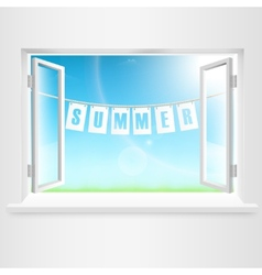 Summer Banner Hanging Out Of Window vector image