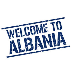 welcome to albania stamp vector image vector image