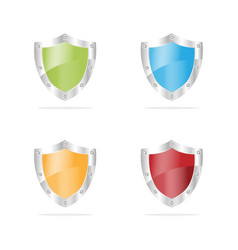 3d security shields on a white background vector image