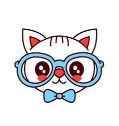cute smiling funny hipster cat in glasses vector image