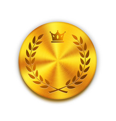 Empty textured golden metal button with crown and vector image