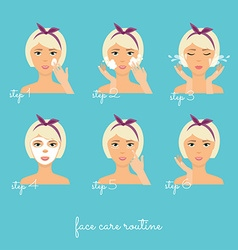 Face care routine girl cleaning and care her face vector