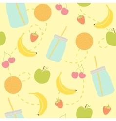 Mason jars and fruits seamless pattern vector image vector image