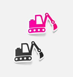 realistic design element excavator vector image