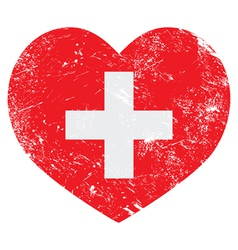 Switerland heart retro flag vector image vector image