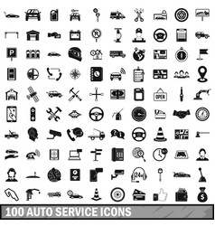 100 auto service center icons set simple style vector