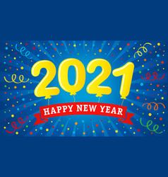 2021 lettering colorful confetti and ribbon vector image