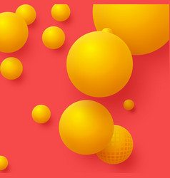 3d yellow balls on the red background abstract vector image